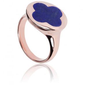Bague Alba Signet Trèfle Lapis Lazuli & Plaqué Or Rose 18K
