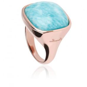 Chevalière Alba Carrée Lumineuse Amazonite Bleue & Plaqué Or Rose 18K