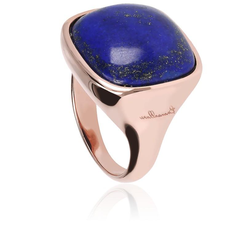 Chevalière Alba Carrée Lumineuse Lapis Lazuli Bleu & Plaqué Or Rose 18K
