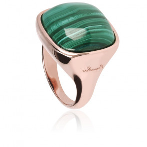 Chevalière Alba Carrée Lumineuse Malachite Verte & Plaqué Or Rose 18K