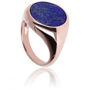 Chevalière Alba Lumineuse Lapis Lazuli Bleu & Plaqué Or Rose 18K