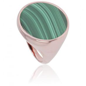Chevalière Alba Grand Disque Malachite Verte & Plaqué Or Rose 18K
