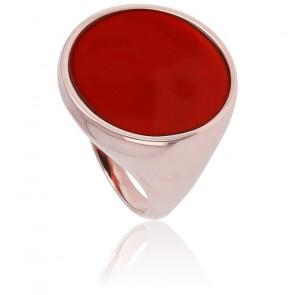 Chevalière Alba Grand Disque Cornaline Rouge & Plaqué Or Rose 18K