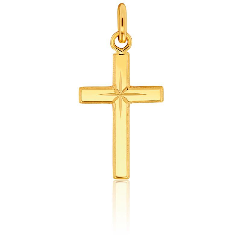 Croix à l'Etoile 14 x 27 Or Jaune 18K