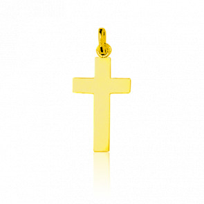 Croix Plate Simple Or Jaune 18K