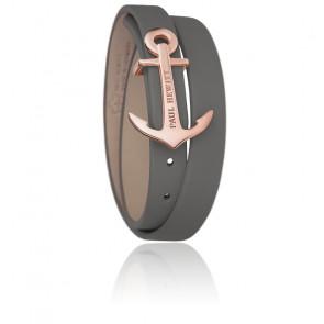 Bracelet Enroulé North Bound Acier PVD Or Rose, Cuir Gris