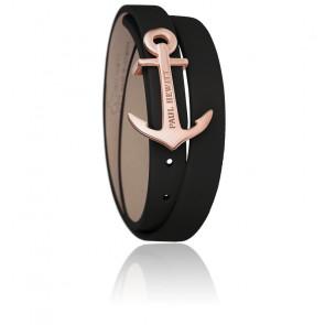 Bracelet Enroulé North Bound Acier PVD Or Rose, Cuir Noir