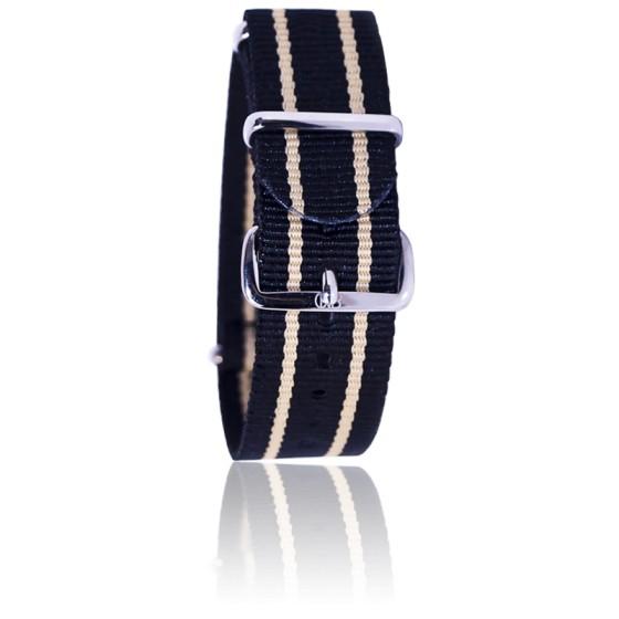 Bracelet Nato Noir liseret beige