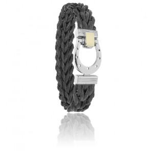 Bracelet 910 Crin de Cheval Noir, Acier & Or Jaune 18K