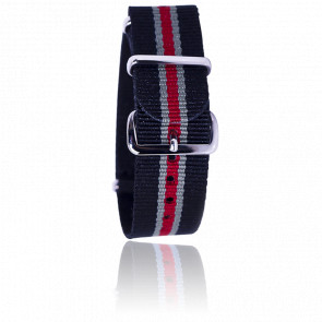 Bracelet Nato Noir/gris/rouge