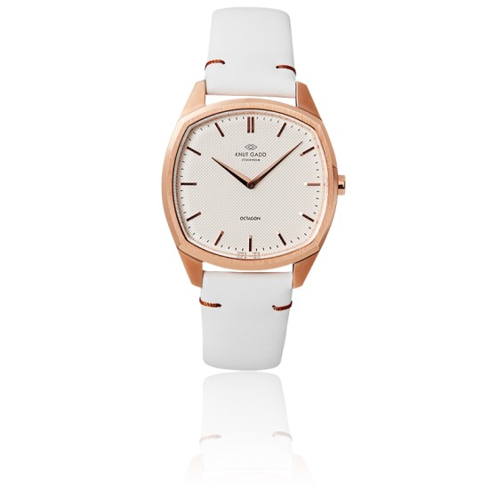 Octagon / Rose Gold / White/ Leather K02008