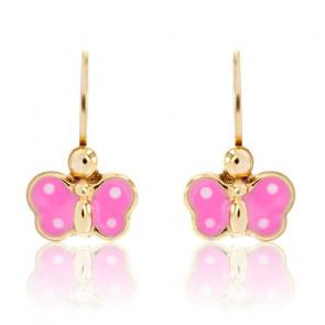 Boucles d'Oreilles Papillon Rose Or Jaune 9K