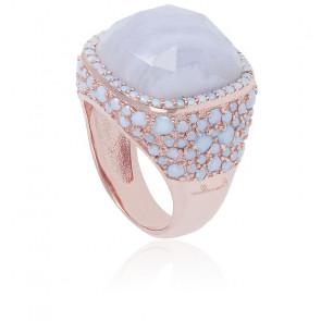 Chevalière Preziosa Agate & Opales Bleues, Plaqué Or Rose 18K