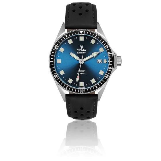 Superman Lagoon Automatique Bracelet Cuir Noir Perforé YMHF1557A-GS11