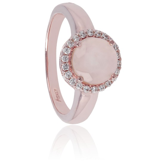 quartz rose bague or