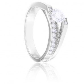 Bague Charlène Diamants & Or Blanc 18K