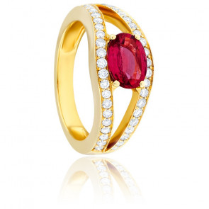 Bague Sissi Rubis, Diamants & Or Jaune 18K