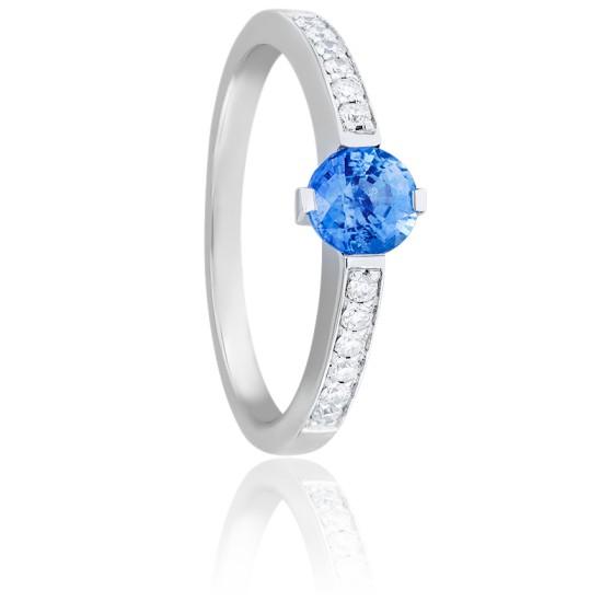 Bague Elizabeth Saphir, Diamants & Or Blanc 18K