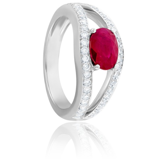 Bague Sissi Rubis, Diamants & Or Blanc 18K
