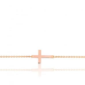 Bracelet Croix Simple Or Rose 18K