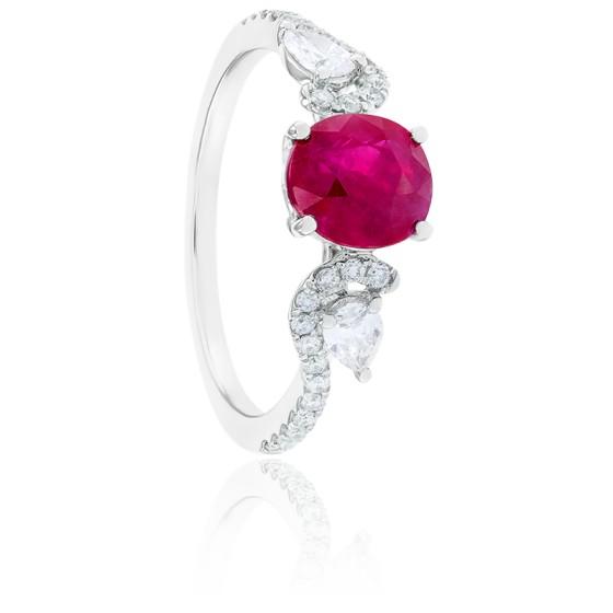 Bague Joséphine Rubis, 28 Diamants & Or Blanc 18K