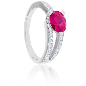 Bague Divine Rubis, Diamants & Or Blanc 18K