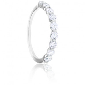 Alliance Bella Demi-Tour Diamants & Or Blanc 18K