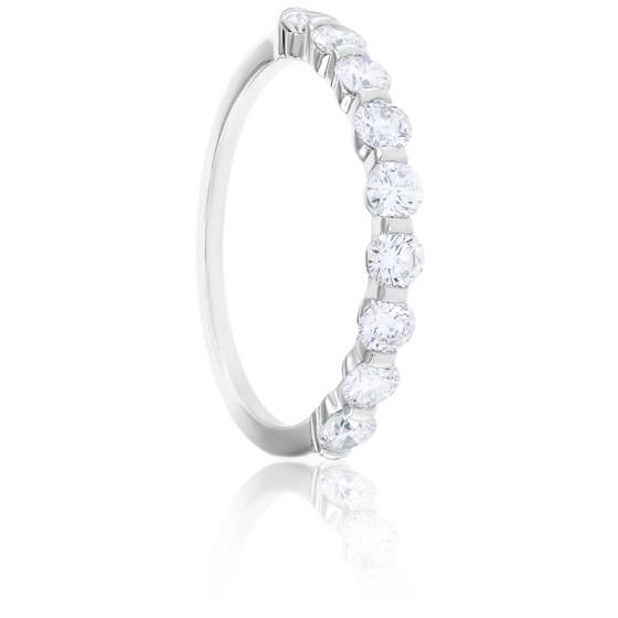 Alliance Bella Demi-Tour Diamants & Or Blanc 18K