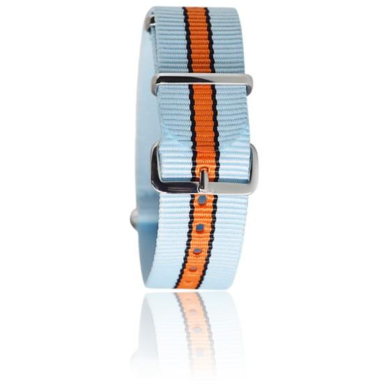 Bracelet bleu ciel/noir/orange