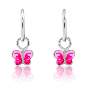 Boucles d'Oreilles Créoles Papillon Rose Argent