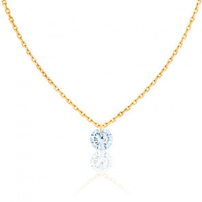 Collier Diamant Percé Brillant 0.20ct F/VS2 & Or Jaune 18K