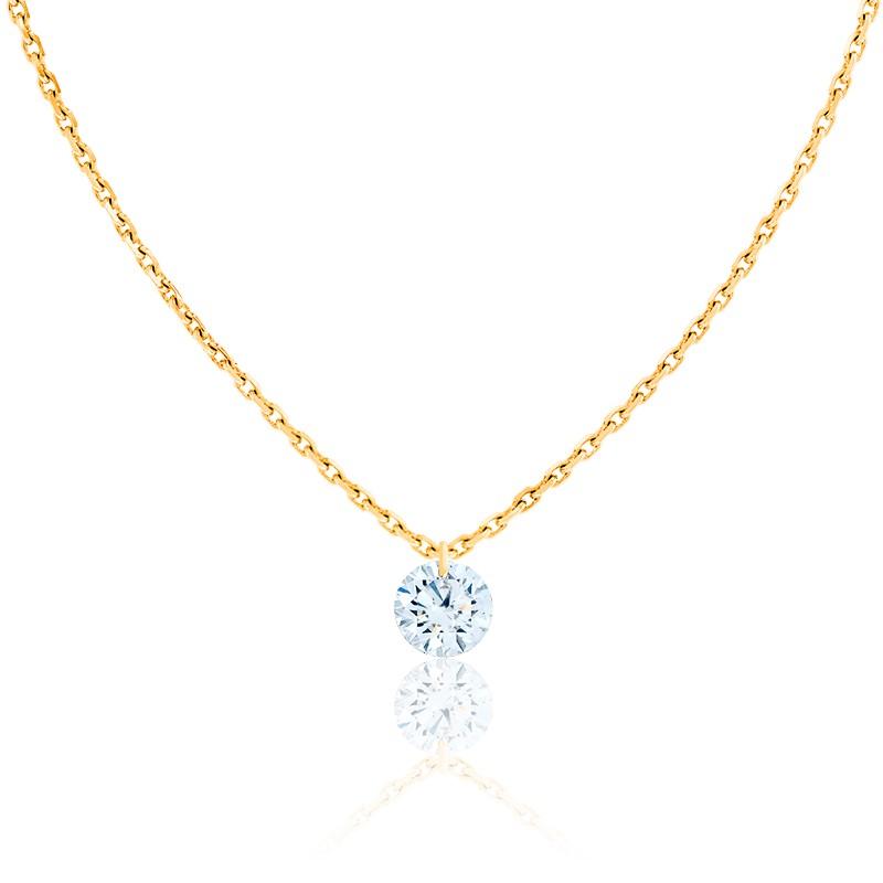 Collier Diamant Percé Brillant 0.20ct F/VS2 & Or Jaune 18K