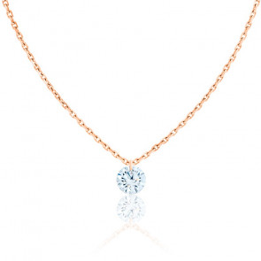 Collier Diamant Percé Brillant 0.20ct F/VS2 & Or Rose 18K