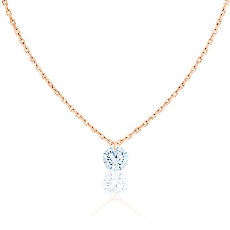 Collier Diamant Percé Brillant 0.20ct F/VS2 & Or Rose 18K
