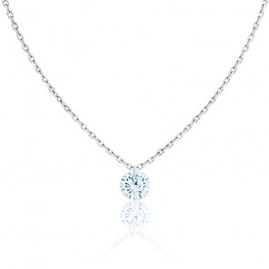 Collier Diamant Percé Brillant 0.20ct F/VS2 & Or Blanc 18K