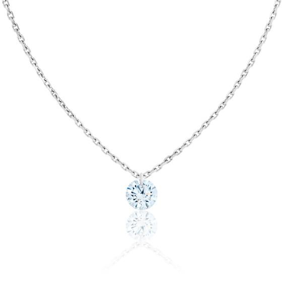 Collier Diamant Percé Brillant 0.20ct F/VS2 & Or Blanc 18K