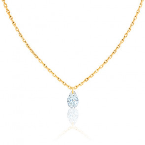 Collier Diamant Percé Poire 0.20 ct F/VS2 & Or Jaune 18K