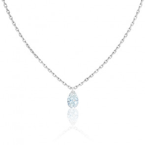 Collier Diamant Percé Poire 0.20 ct F/VS2 & Or Blanc 18K