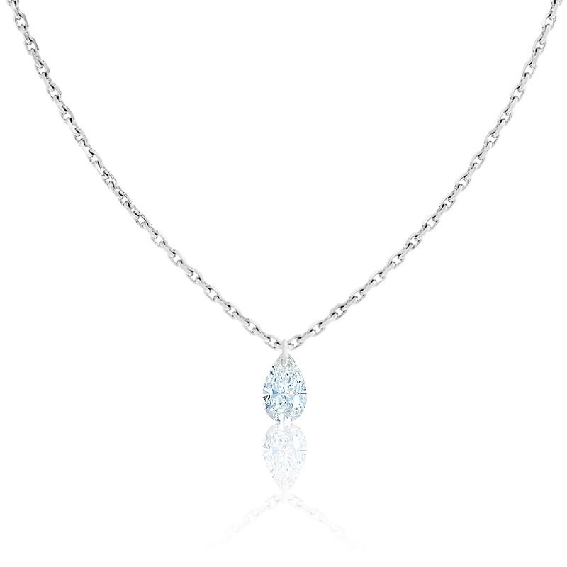 Collier Diamant Percé Poire 0.20 ct F/VS2 & Or Blanc 18K