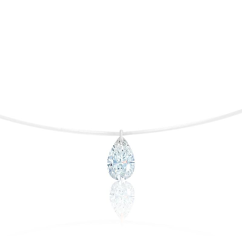 Collier Diamant Percé Poire 0.20ct F/VS2 & Fil Nylon