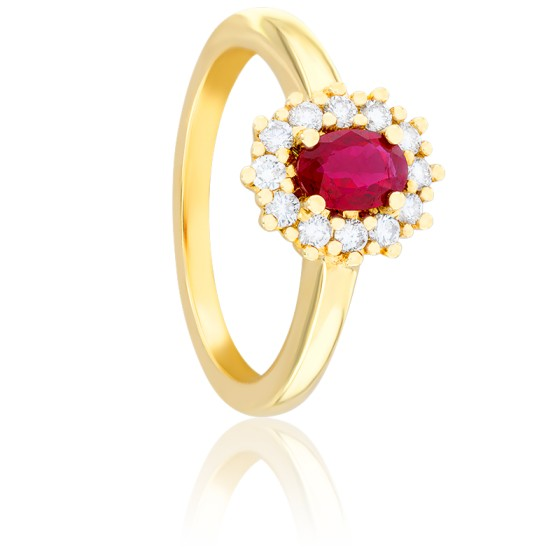 Bague Kate Rubis, Diamants & Or Jaune 18K