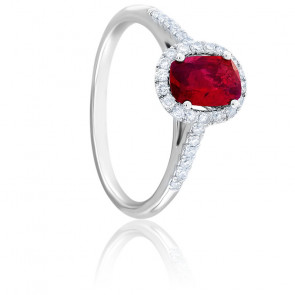 Bague Dahlia Rubis, Diamants & Or Blanc 18K