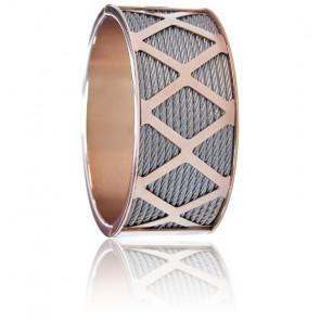 Bracelet Manchette Forever X Acier & PVD Rose