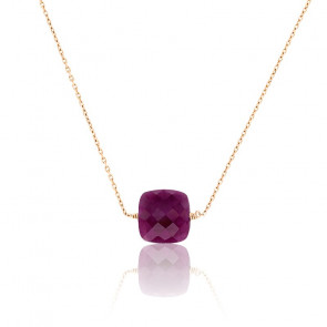 Collier Rubis & Or Rose 18K