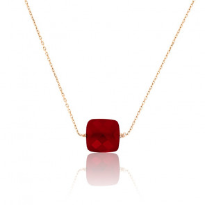 Collier Onyx Rouge Cerise & Or Rose 18K