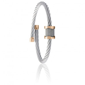 Bracelet Jonc Forever Waves Charms Acier & PVD Rose