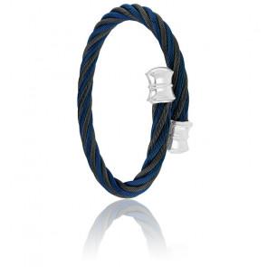 Bracelet Celtic Décor PVD Noir & Bleu Alterné