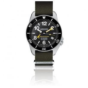 Coffret Spirotechnique 300M Black DLC Cadran Chiffres Bracelet Nato et Tropic A9102