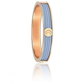 Bracelet Forever 4 Rangs Bleu Acier & PVD Rose