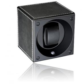 Ecrin Rotatif Masterbox Leather - Black Leather & White Stitches
